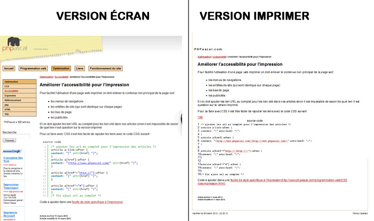 CSS impression - version �cran version imprimer